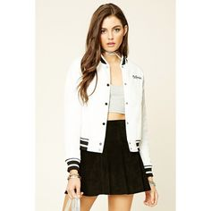 Forever21 California Varsity Jacket (£28) ❤ liked on Polyvore featuring outerwear, jackets, college jacket, white jacket, varsity style jacket, letterman jackets and varsity jacket
