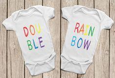 Double Rainbow ONESIES ® or Rainbow Baby T-Shirt Twin Onesies