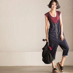 Dark blue overall women's trousers