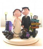 topo de bolo de casamento personalizado em biscuit Noivinhos Na patagonia