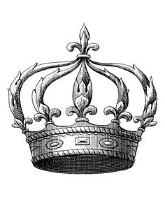 1840's Fleur de Lis Crown sized appropriately for Iron on Transfers. DIY projects, including Towels, Pillows, Placemats etc. via The Graphics Fairy