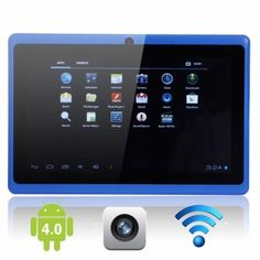 """Android Tablet PC Blue This tablet comes with a 7"""" screen, android 4.0 system, 512M RAM, 4GB hard drive capacity, 5 point touch screen, 800x480 max resolution, 0.3 mega pixels camera, and Wi-Fi."""