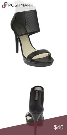 """Women's BCBG Heels BCBGeneration Women's BG-GERBERA Dress Sandal BLACK Retail Price: 128.99  The Gerbera dress sandals features:  -mesh/leather -upper back zipper for easy on/off, -synthetic lining synthetic leather insole  -non-skid rubber outsole -0.8"""" platform; 4.7"""" heel; feels like a 3.9"""" heel   *small damage to the heels in the last picture* BCBG Shoes Heels"""