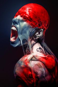 """""""Slime Me"""" by Stefan Gesell aka Gesell @ deviantart Realistic Drawings, Art Drawings, Art Zombie, Ero Guro, Colour Tattoo, Scary Art, Scary Movies, Face Art, Macabre"""
