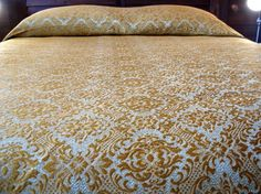 Vintage Damask Coverlet Double/Full Gold Orange by orchard8retro