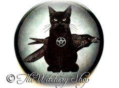 Black CAT and RAVEN - Gray Talisman Amulet  Pendant Tile - Witch Wicca Pagan