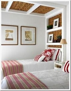 New bedroom beach decor ideas guest rooms 28 Ideas Beach Bedroom Decor, Beach House Decor, Bedroom Ideas, Home Decor, Bedroom Red, Bamboo Ceiling, White Headboard, Guest Bedrooms, Guest Room