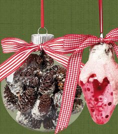 Trim your tree with handmade ornaments!  Fill a globe with pinecones or paint a snowy texture to make these Christmas ornaments! #fabulouslyfestive