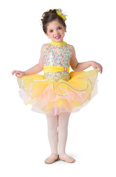 Iridescent sequin mesh over yellow spandex leotard with attached sash and adjustable straps. Separate yellow and pink tricot tutu and yellow spandex skirt. Hologram sequin, and jewel brooch trim.  Jewel flower headpiece included. #dancecostumes #firstrecital #costumegallery #dancecompetition #ballerina #babyballerina #tutu #tots Baby Ballerina, Brand New Day, Dance Recital, Flower Headpiece, Tiny Dancer, Hologram, Dance Costumes, Leotards, Sash