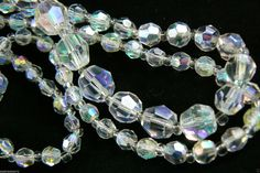 "Vintage Aurora Borealis Crystal Beaded Strand Necklace 29"" $0 Shipping 
