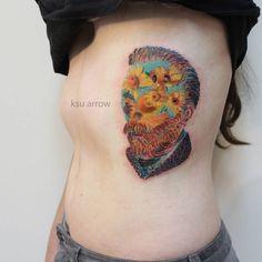 """3,333 """"Μου αρέσει!"""", 8 σχόλια - Ksu Arrow (@ksuarrow_tattoo) στο Instagram: """"Ван Гог с подсолнухами ☺ #tattoo #ink #ksuarrow #vangogh #vangoghtattoo #sunflower #sunflowertattoo…"""""""