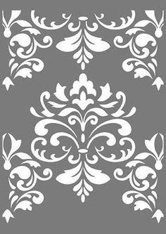 große Schablonen – Buntstück Hamburg Stencil Decor, Tree Stencil, Victorian Pattern, Baroque Pattern, Stencil Patterns, Stencil Designs, Texture Painting, Fabric Painting, Grey And White Wallpaper