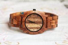 Wood Watch For Women or Men Sandal Wooden Watch Wrist Bracelet Quartz Vintage Watch With Round Dial Gift Zebra(W01018)