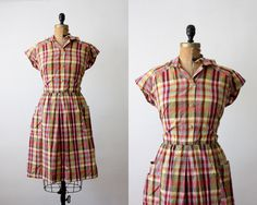 1960s dress - plaid dress - 60s plaid day dress. $55.00, via Etsy.