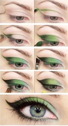 Maquillaje en tonos verdes, tutorial paso a paso.