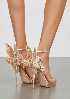 Fancy Shoes, Gold Shoes, Unique Shoes, Cute Shoes, Rose Gold Wedding Shoes, Sophia Webster Chiara, Butterfly Heels, Blue Butterfly, Best Bridal Shoes