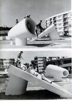 Hungarian sculptor and architect Pierre Szekely was a master of creating interesting organic and geometric forms, both for play and for living. Modern Playground, Playground Slide, Playground Design, Outdoor Playground, Children Playground, Aldo Van Eyck, Design Despace, Play Spaces, Street Furniture