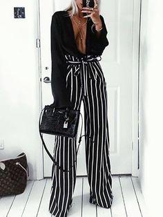 Frills Striped Belted High Waist Wide Leg Pants