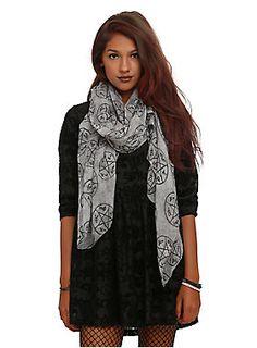 <p>Lightweight grey wash scarf from <i>Supernatural</i> with allover symbol print design.</p>  <ul> <li>100% polyester</li> <li>Imported</li> </ul>