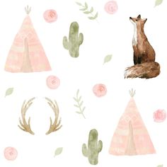 Woodland Fox Nursery Fabric by the Yard. Quilting Cotton, Minky, Knit, Jersey. Blush, Teepee, Deer, Cactus, Foxes, Camping Children's Fabric Woodland Fabric, Fox Nursery, Nursery Fabric, Kona Cotton, Foxes, Vibrant Colors, Deer, Craft Projects, Cactus
