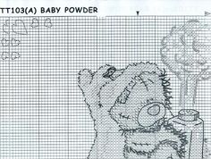Tatty teddy with baby poder cross stitch chart