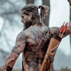 Women love hot guys with tattoos. In fact, when women see tattooed men, their perception of the guy's hotness factor increases significantly. Sexy tattoos exude a level of rugged masculinity…View Post Back Tattoos For Guys, Cool Tattoos For Guys, Male Back Tattoos, Men With Tattoos, Back Tattoo Men, Portrait Photography Men, Fantasy Photography, Hot Men, Sexy Men