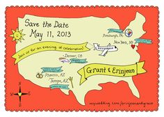custom US wedding map  invitation or save the by onelonelyapricot, $100.00