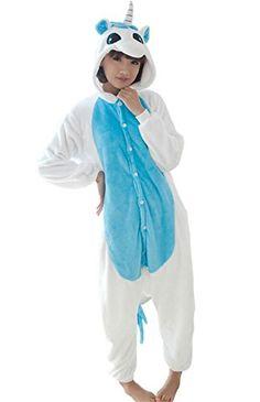 67b12e9c25 Adult Halloween Cosplay blue unicorn Animal Pajamas Animal Onesie sleepwear  M 62566   Check this awesome