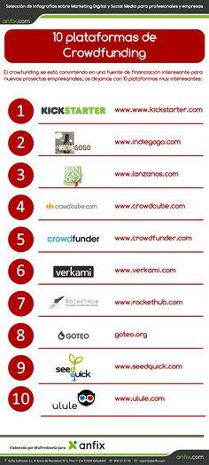 10 plataformas de crowdfunding para financiar tu idea de negocio vía: anfix.tv  #infografia #infographic