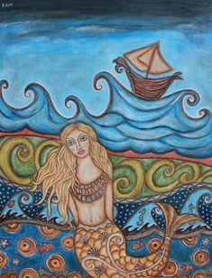 Monique Mermaid Painting by Rain Ririn - Monique Mermaid Fine Art Prints and Posters for Sale