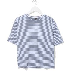 Tiny Striped Tee by Boutique ($52) ❤ liked on Polyvore featuring tops, t-shirts, shirts, tees, whale blue, stripe shirt, blue shirt, boutique shirts, t shirts and blue tee