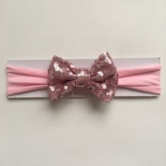Light Pink Sequin Bow Baby Headband |toddler headband | soft jersey headband by littlechancesdesigns on Etsy https://www.etsy.com/listing/514822621/light-pink-sequin-bow-baby-headband