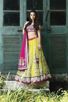 Garba? W13-63 - Net ghagra with contrast raw silk blouse, embellished with zardosi, and lumpy work along with net dupatta