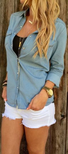 white shorts + tank + blue button-up + long necklace