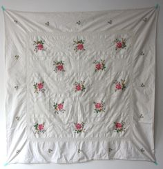 Vintage Tablecloth  Floral Embroidered Linens Table Cloth by weald, £15.00