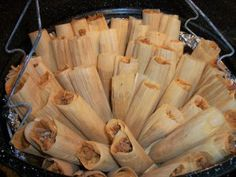 Pork tamales. It's what's for dinner New Years Eve/Day. Eating chicken those days will leave you scratching like a chicken all year for money! (So says my hubby's polish grandma)