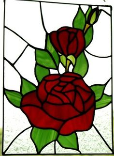 Handmade Stained Glass Red  Rose with frosted by glassnwood
