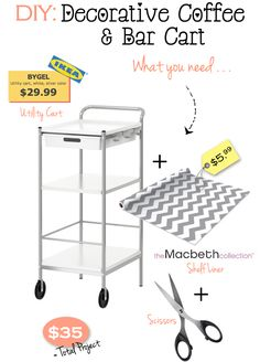 Fabulous Fashions 4 Sensible Style: GET CRAFTY: DIY COFFFE AND BAR CART FOR $35 I'm sooooo doing this