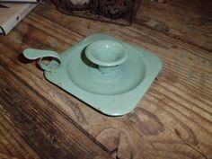 ancien bougeoir tôle émaillée rat de cave vintage blue enamel candleholder