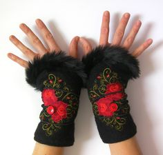 Embroidered wool fingerless gloves, with synthetic fur, Russian folklore style, polar lining Folklore Russe, Style Tribal, Beaded Moccasins, Sweater Mittens, Couture, Fur Fashion, The Chic, Fingerless Gloves, Arm Warmers