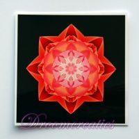 Meditatiekaart Stardust red 9 x 9 cm - www.droomcreaties.nl
