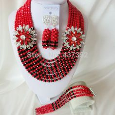 Fashion Red and Black Nigerian Beads Crystal Necklaces Bracelet Earrings African Wedding Beads Jewelry Set  CPS-2265 $58.53