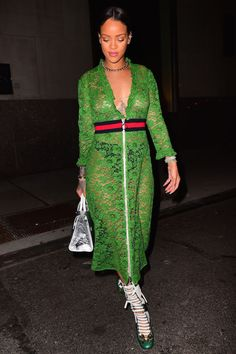 6 celebrities free the nipple: Rihanna spotted in Gucci SS16 wearing a green, lace dress.