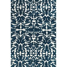 Combining a dramatic damask-inspired motif and rich midnight hue, this chic rug brings home eye-catching style.  Product: Rug