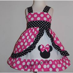 Minnie Mouse dress Med Pink peekaboo Jumper Dress ($61) ❤ liked on Polyvore featuring dresses, pink dress and pink day dress