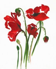 Poppies. By gulbin - Some watercolor paintings start out by washing the background paper with clear water. When I say 'washing', I mean laying down the water with a larger brush, or even a paper towel soaked in water. CLEARLY there was no wash done to this background. See how the details are clean and crisp. The color is also quite bold. That can be achieved by using less water in the mix.