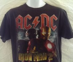 AC DC Soundtrack T-Shirt Shoot To Thrill Iron Man 2 Marvels Studio Black Medium  #ACDC #GraphicTee