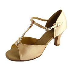 Danzcue Womens TStrap Rhinestone Tan Salsa Tango Ballroom Latin Dance Shoes 85 M US *** Read more  at the image link.