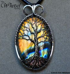Labradorite - Wire Wrapped Tree of Life Sterling Silver Pendant - Handmade Jewelry by Tim Whetsel  - Thumbnail 2