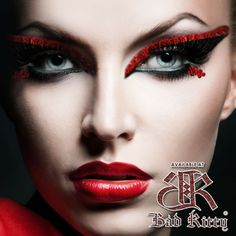 red and black graphic cat eye, deep red lips